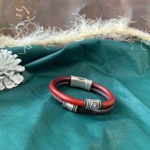 Jewelry - Silver and Leather Two-Toned Bracelet